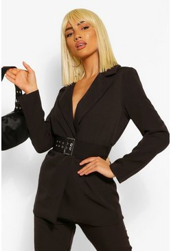 Black Tailored Oversized Buckle Fitted Blazer