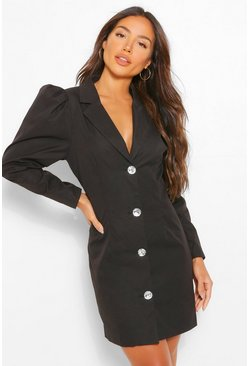 Black Woven Diamante Puff Sleeve Blazer Dress
