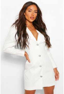 White Woven Diamante Puff Sleeve Blazer Dress