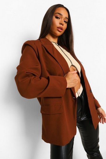 Chocolate brown Tailored Oversized Pocket Detail Blazer