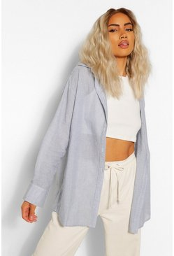 Denim-blue blue Cotton Mix Stripe Oversized Shirt