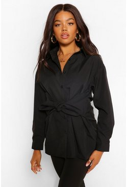 Cotton Mix Tie Front Long Shirt, Black schwarz