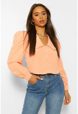 Apricot nude Cotton Mix Oversized Collar Shirt