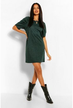 Khaki Animal Jaquard Shift Dress
