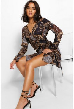 Black Chain Print Wrap Shift Dress