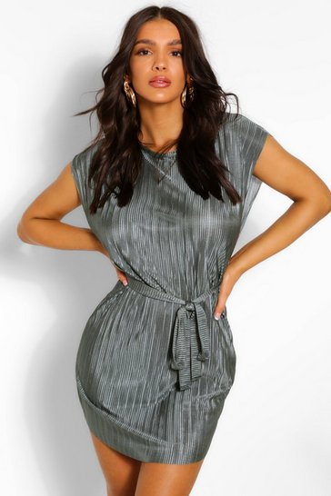 Khaki Plisse Shift Dress