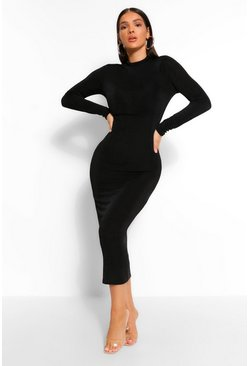 Black High Neck Bodycon Midaxi Dress