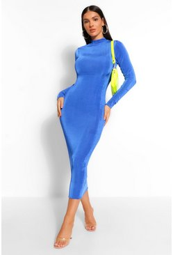 Cobalt blue High Neck Bodycon Midaxi Dress