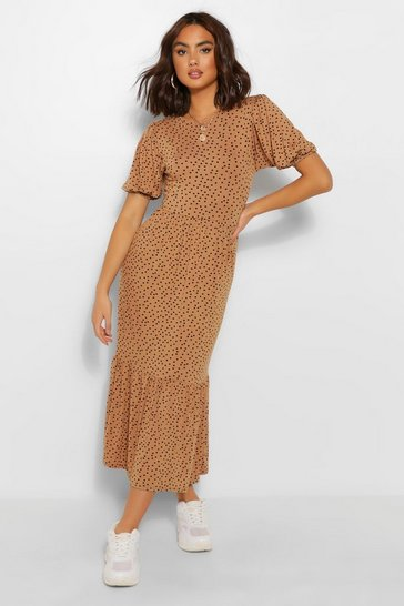 Brown Spot Print Puff Sleeve Tiered Midaxi Dress