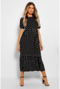 Black Polka Dot Puff Sleeve Tiered Midaxi Dress