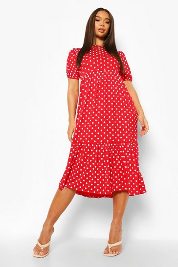 Red Polka Dot Puff Sleeve Tiered Midaxi Dress