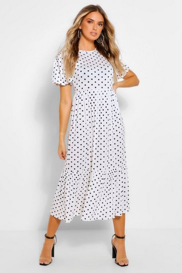 White Polka Dot Puff Sleeve Tiered Midaxi Dress