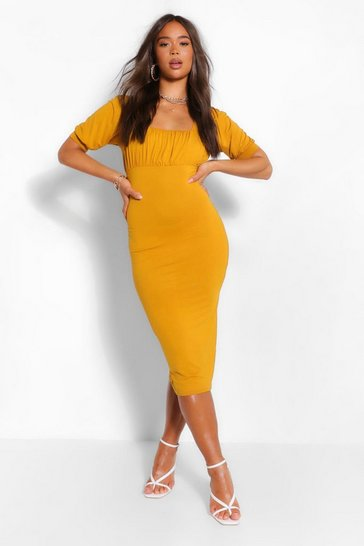 Mustard Square Neck Rouched Bust Midi Dress