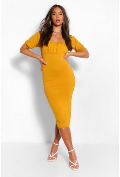 Mustard yellow Square Neck Rouched Bust Midi Dress