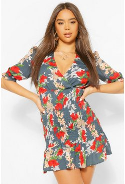 Navy Floral Shirred Detail Mini Dress