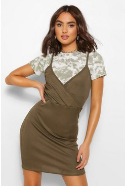 Tie Dye T-shirt Layed Slip Dress, Khaki