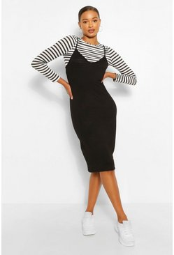 Stripe Long Sleeve T-Shirt & Midi Slip Dress, Black