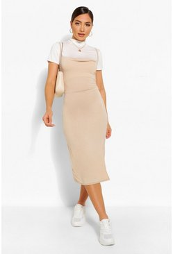 Stone beige Funnel Neck T-Shirt & Midi Slip Dress