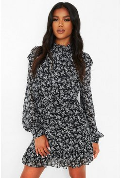 Black Floral High Neck Frill Detail Skater Dress