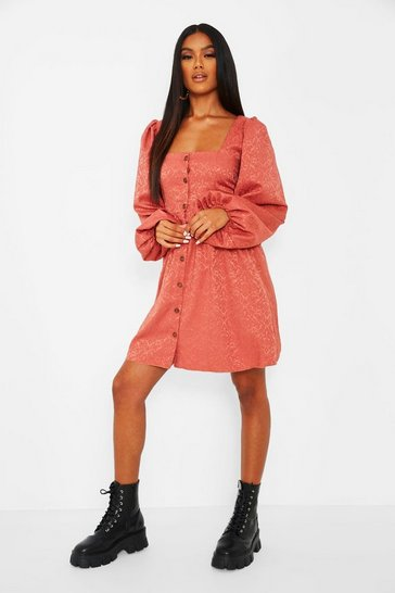 Rose pink Jaquard Button Down Balloon Sleeve Skater Dress