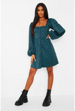 Teal green Jaquard Button Down Balloon Sleeve Skater Dress