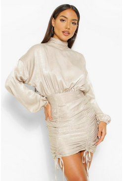 Silver High Neck Rouched Mini Dress