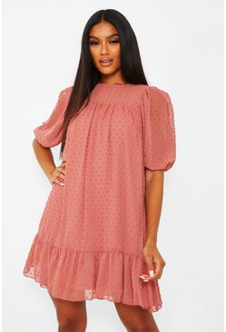 Rose pink Dobby Drop Hem Puff Sleeve Smock Dress