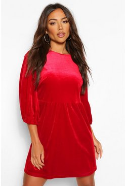 Berry Velvet Extreme Puff Sleeve Shift Dress