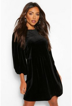Black Velvet Extreme Puff Sleeve Shift Dress