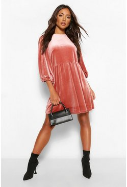 Rose pink Velvet Extreme Puff Sleeve Shift Dress