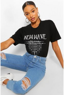Black New Wave Graphic T-Shirt