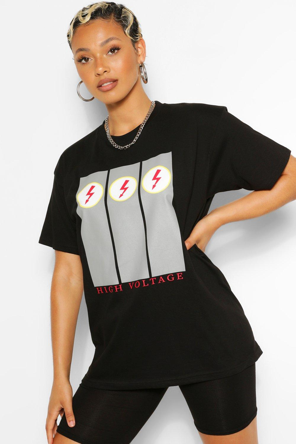 TOPS Black High Voltage Graphic T-Shirt
