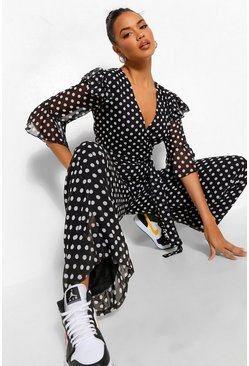 Black Chiffon Ruffle Polka Dot Wide Leg Jumpsuit