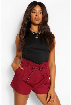 Berry red Pleat Front PU Detail Belt Shorts
