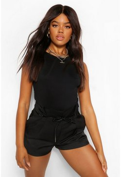 Black Pleat Front PU Detail Belt Shorts
