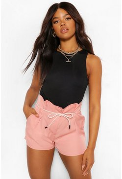 Rose pink Pleat Front PU Detail Belt Shorts