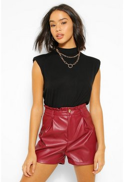 Berry red PU Faux Leather Paperbag Single Button Shorts