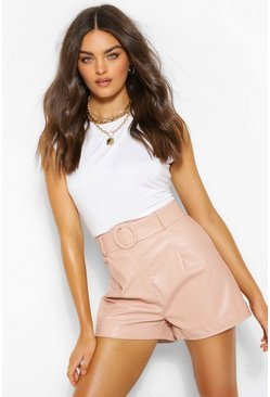 Dusky pink pink PU Faux Leather Belted Turn Up Hem Shorts