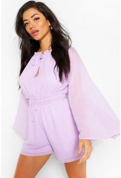 Lilac purple Woven Chiffon Ruffle Detail Flare Sleeve Playsuit