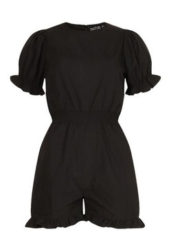 Black Woven Puff Sleeve Frill Hem Playsuit