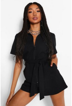 Black Woven Zip Through Belted Boiler Playsuit
