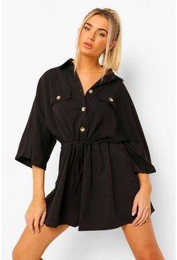 Black Volume Sleeve Drawstring Button Through Playsuit