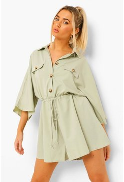 Sage green Volume Sleeve Drawstring Button Through Playsuit