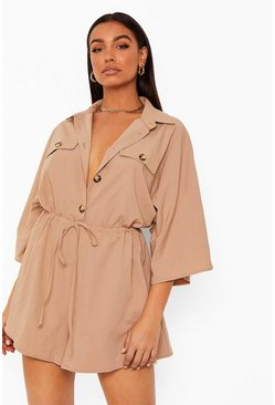Stone beige Volume Sleeve Drawstring Button Through Playsuit