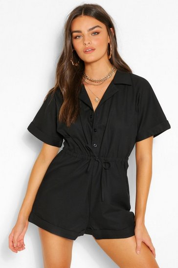 Black Woven Short Sleeve Drawstring Utility Playsuit