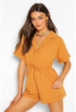 Camel beige Woven Short Sleeve Drawstring Utility Playsuit
