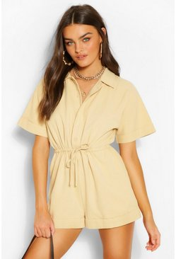 Ecru white Woven Short Sleeve Drawstring Utility Playsuit