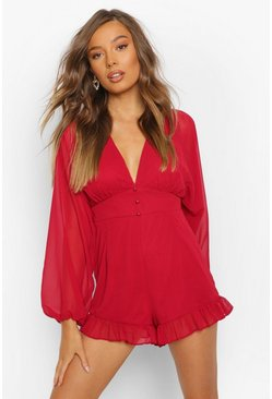 Red Chiffon Blousen Sleeve Button Detail Playsuit