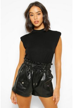 Black PU Faux Leather Drawstring Paperbag Shorts