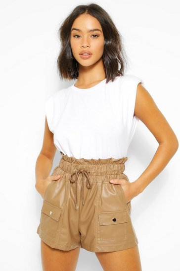 Chocolate brown PU Faux Leather Drawstring Paperbag Shorts
